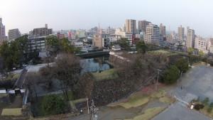 大分市の公園でのスチール撮影。上空約50メートルからの撮影です。